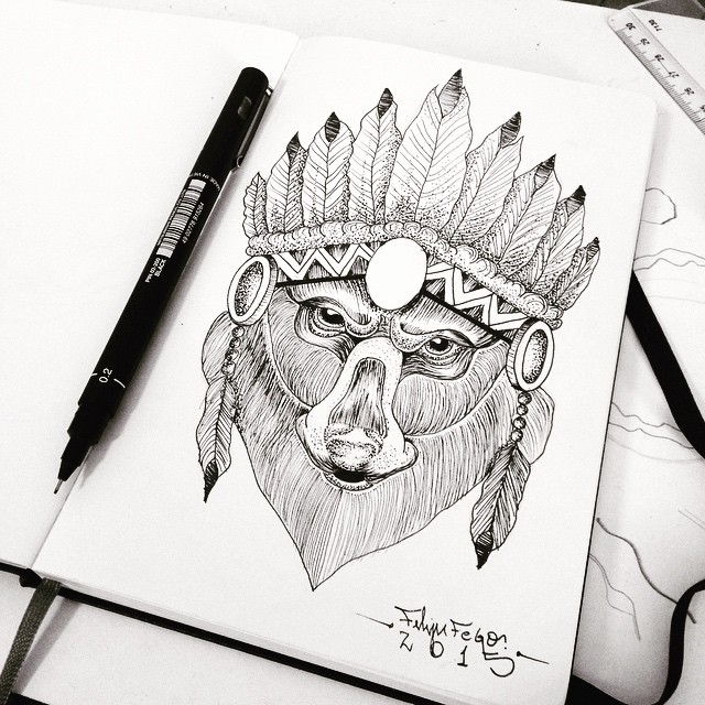 Severe grey-color bear in indian hat tattoo design