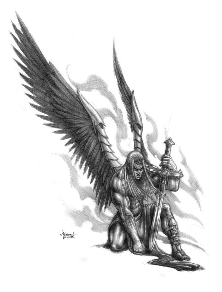 Severe grey-ink angel warrior with a sword tattoo design