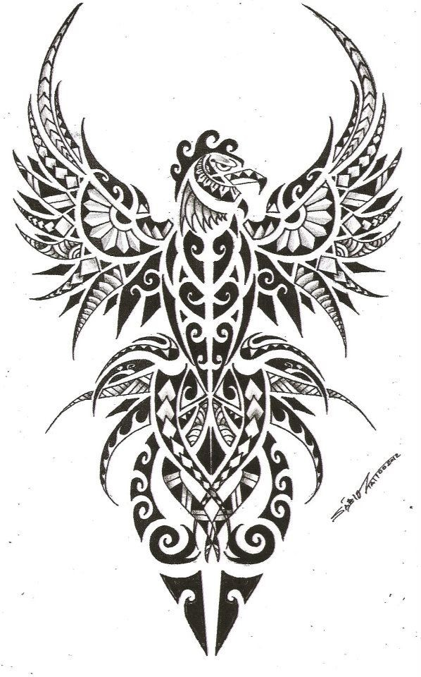 Severe grey-ink maori-patterned phoenix bird tattoo design
