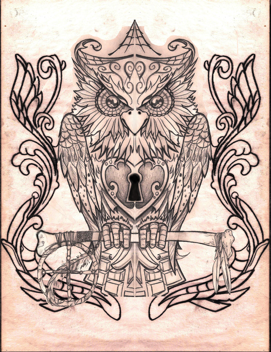 Severe grey owl with a key tattoo design owl by Creep1973
