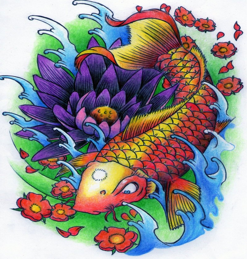 Severe Koi Fish And Gigant Violet Lotus Flower Tattoo Design By