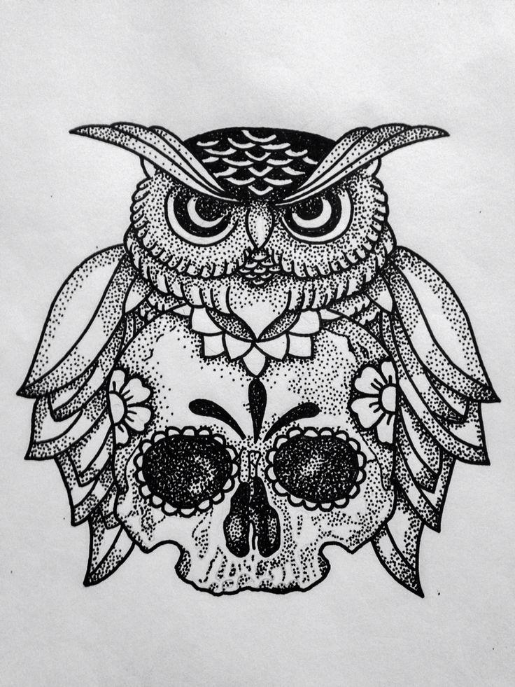 Severe Uncolored Dotwork Owl And Sugar Skull Tattoo Design