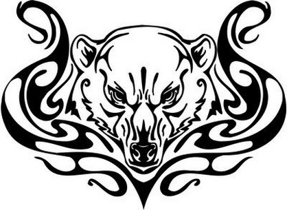 Severe uncolored grizzly head with tribal curles tattoo design