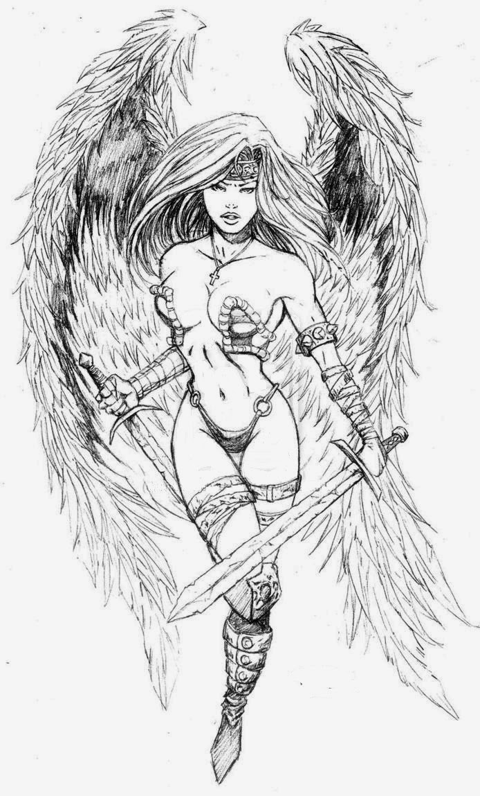 Sexy armoured angel woman warrior with swords tattoo design