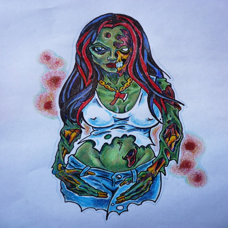 Sexy colorful zombie girl tattoo design by Hoviemon
