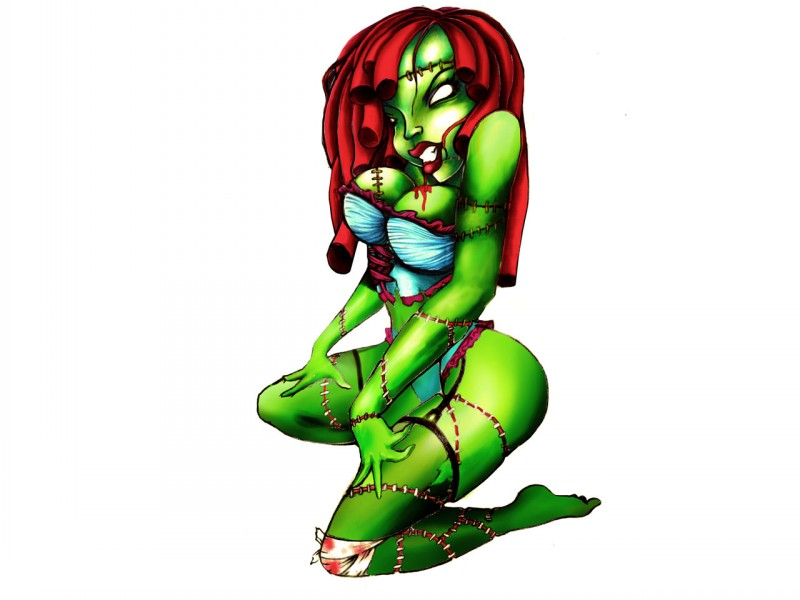 Sexy green zombie girl with long red hair tattoo design