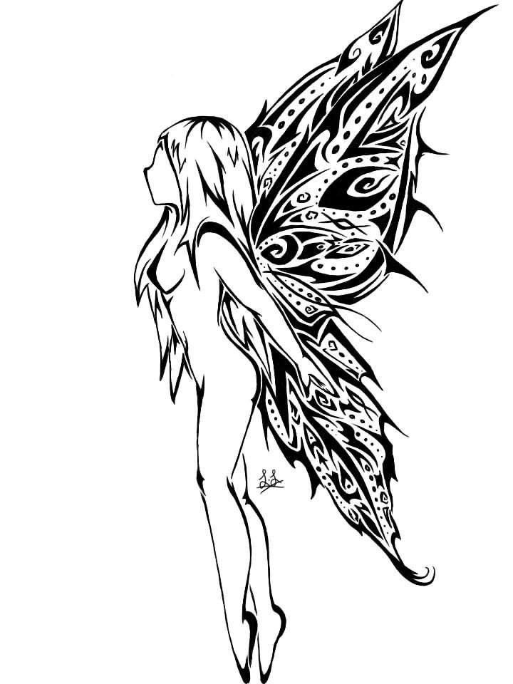 Sexy naked fairy with nice tribal wings tattoo design by XX Endless Dark XX