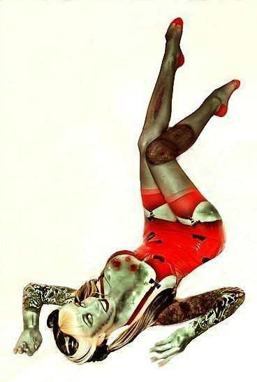 Sexy smiling lying pin up zombie girl in red dress tattoo design