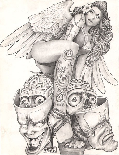 Sexy tattooed girl angel and two skulls in masks tattoo design