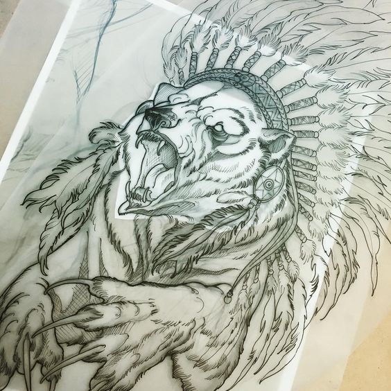 Sharp-nailed bear in indian leader feathered hat tattoo design