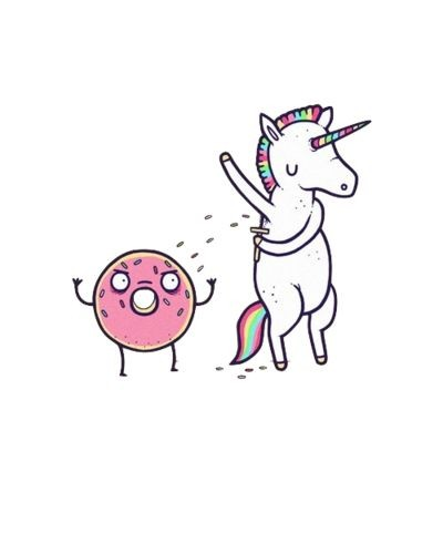 Shaving unicorn and angry pink doughnut tattoo design