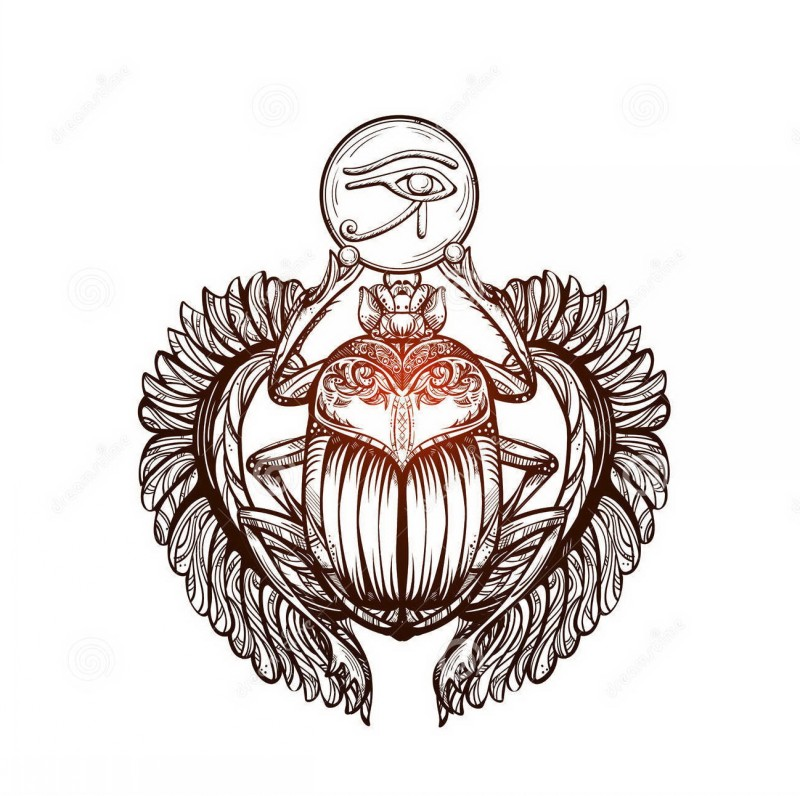 Shining scarab bug with flexible wings keeping egyptian eye symbol tattoo design
