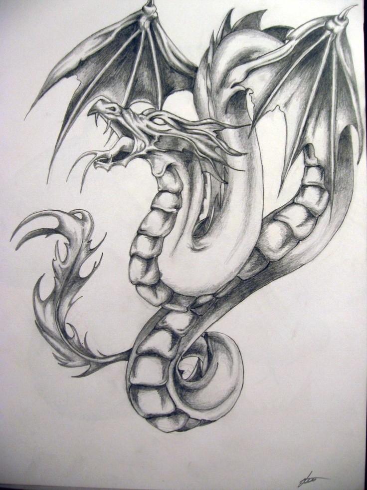 Shirty grey-ink crying dragon tattoo design