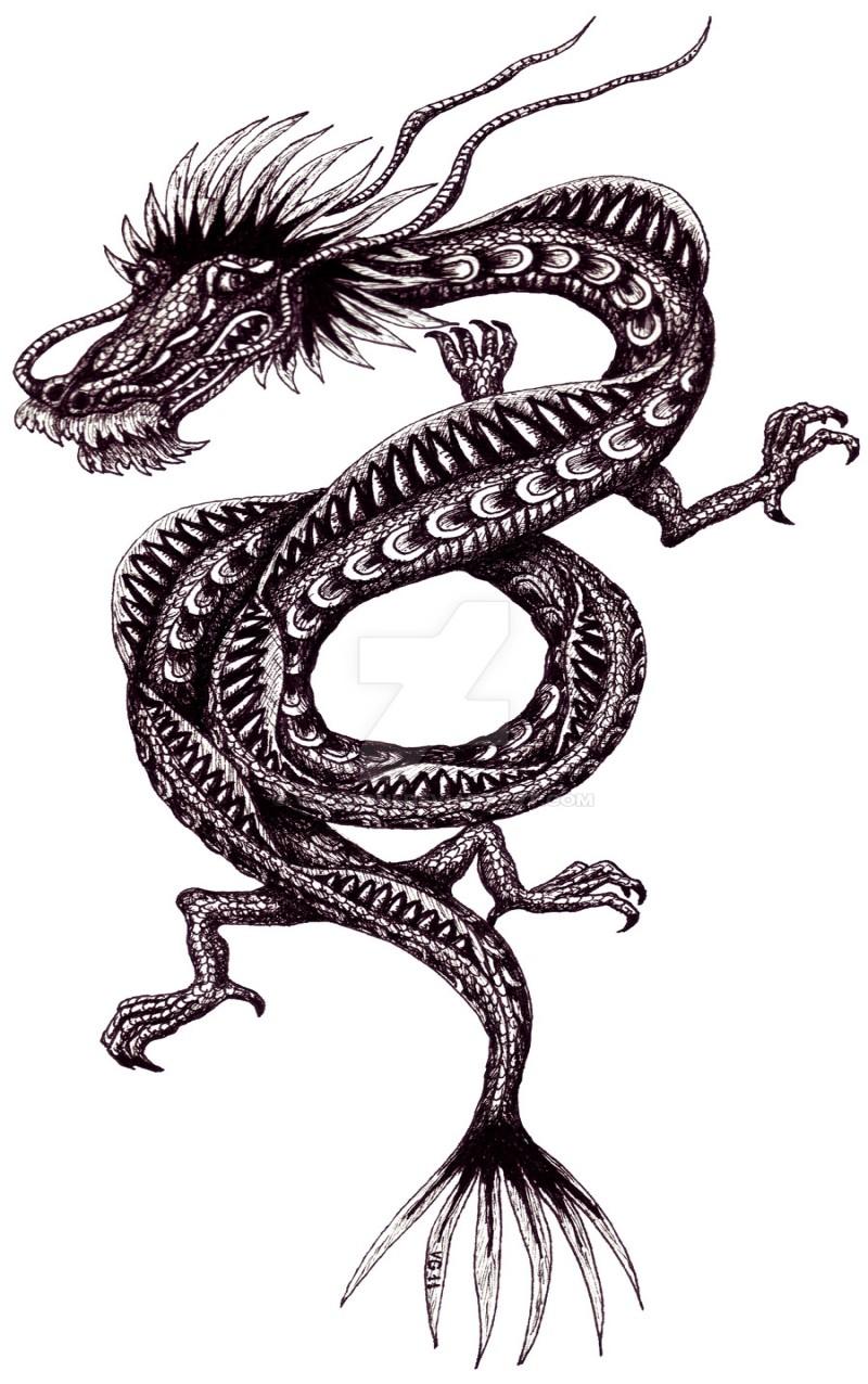 shy blackandwhite chinese dragon tattoo design by