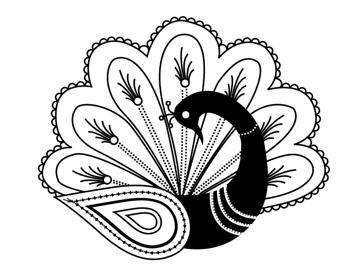 Shy black peacock with fan-shaped tail tattoo design