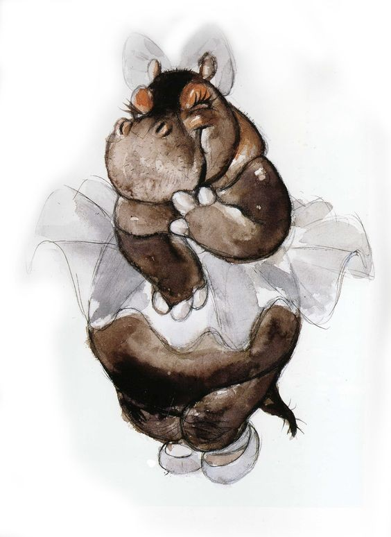 shy brown watercolor hippo girl in grey skirt and bow