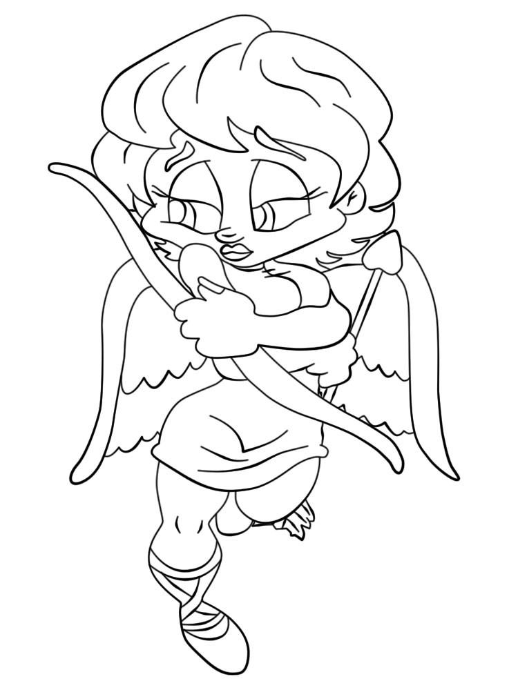 Shy cartoon lineart female angel tattoo design