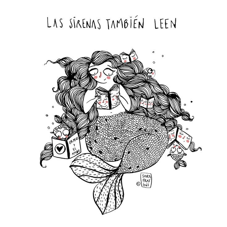 Shy chubby mermaid rwith rosy cheeks eading books tattoo design