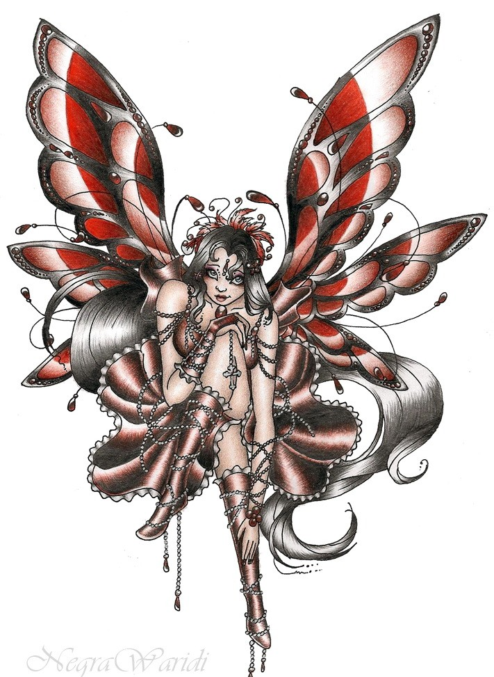 shy colored gothic fairy tattoo design by negrawaridi. Black Bedroom Furniture Sets. Home Design Ideas