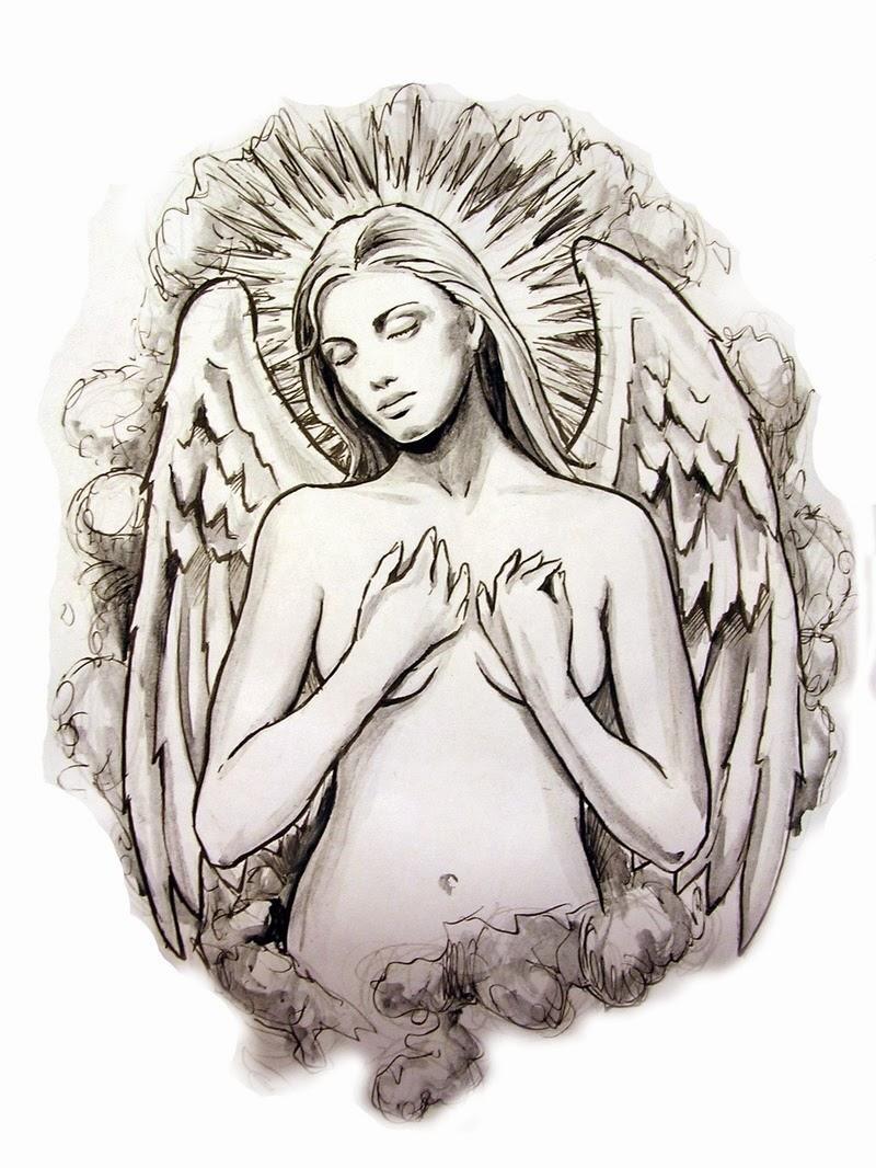 Shy grey-ink naked angel woman portrait tattoo design