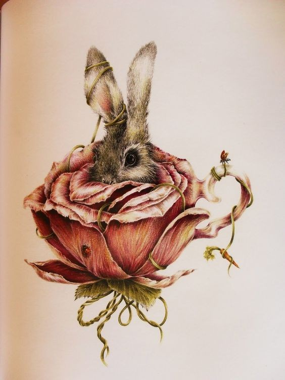 Shy hare hidding in rose-shaped cup tattoo design