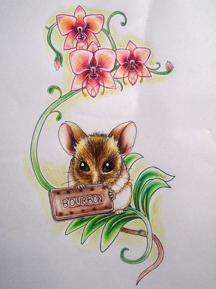 Shy little mouse with table sitting on flowered stem tattoo design by Kirsty Noelle Davies