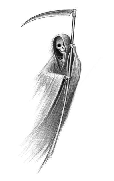 Shy pencilwork death keeping a thin scythe tattoo design