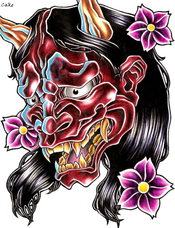 Shy red-faced demon and pink falling cherry blossom tattoo design