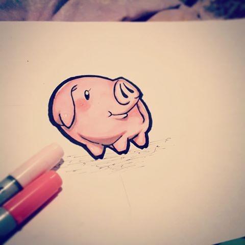 Shy tiny rosy cartoon pig tattoo design