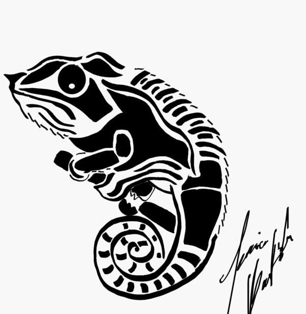 Chameleon Outline Tattoo: Shy Tribal Chameleon Tattoo Design By Jetsun