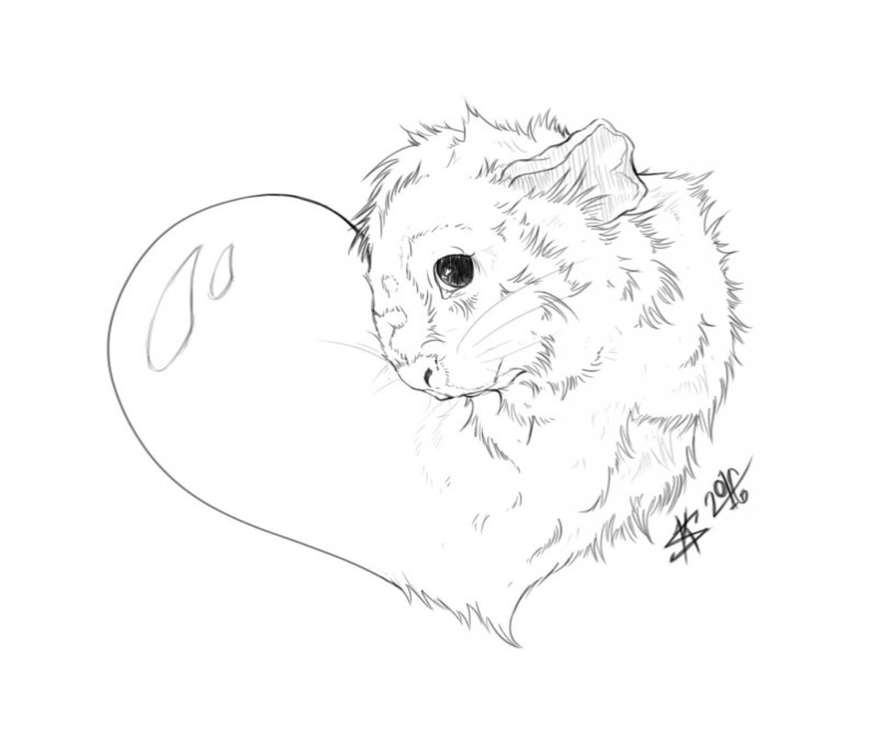 Shy uncolored rodent portrait in heart frame tattoo design