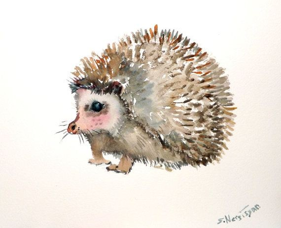 Shy watercolor hedgehog with rosy cheeks tattoo design