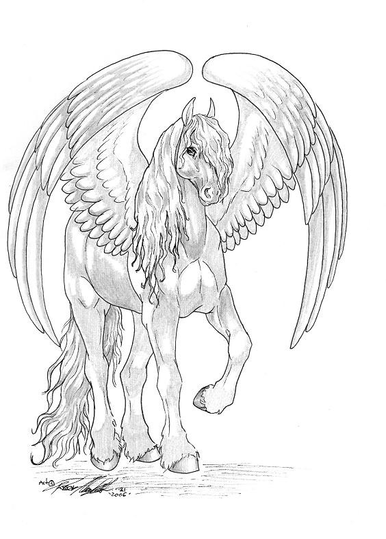 Shy White And Grey Pegasus Tattoo Design By Moon Feather