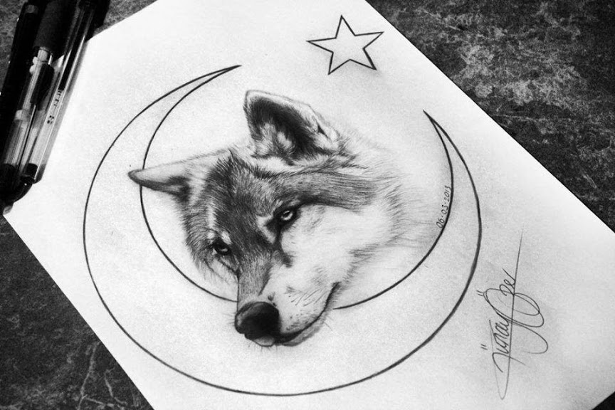 Sightly black wolf head with moon and stars tattoo design