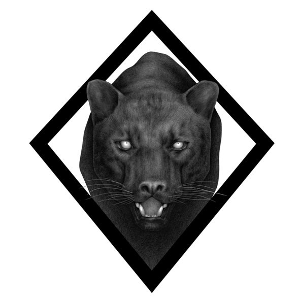 Silver-eyed panther in rhombus frame tattoo design