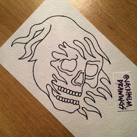 Simple-line death head in torn hood tattoo design