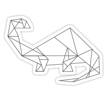Simple-line geometric dinosaur silhouette tattoo design