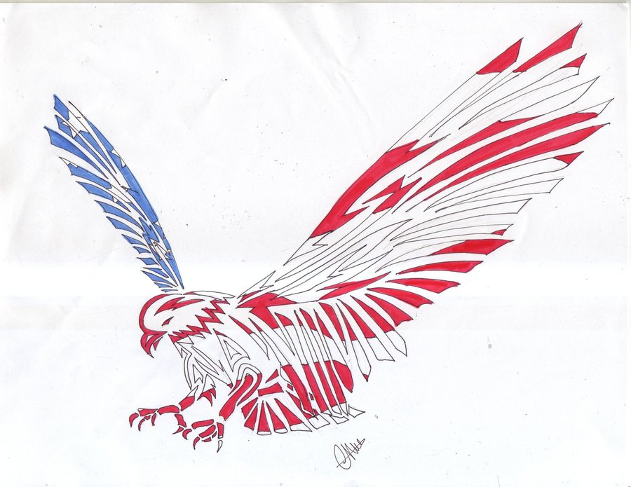 Simple american flag color eagle tattoo design