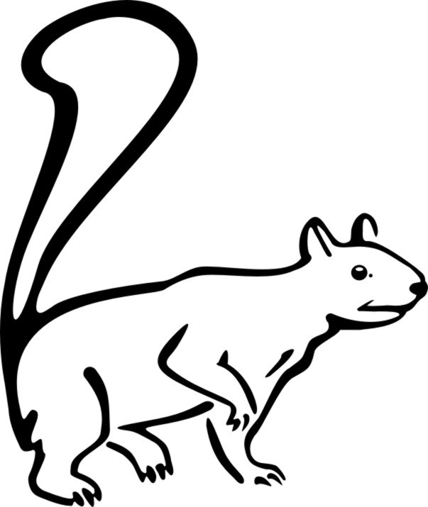 Simple animated curious outline squirrel tattoo design