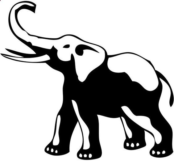 Simple black-and-white elephant tattoo design