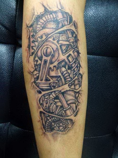 Simple black-and-white robot arm tattoo