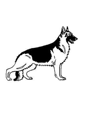Simple black-and-white static german shepherd tattoo design