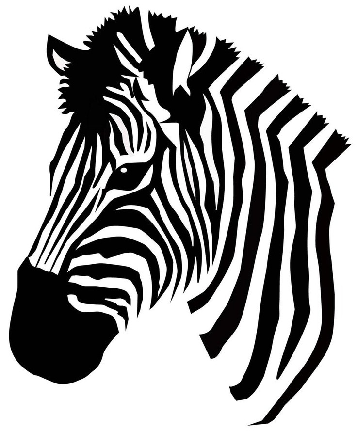 simple black and white zebra head tattoo design. Black Bedroom Furniture Sets. Home Design Ideas
