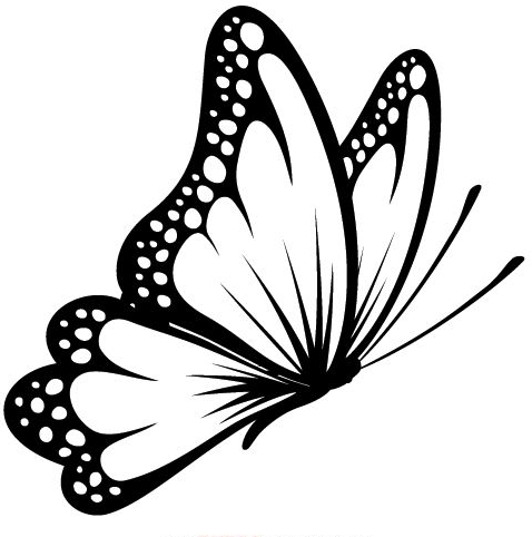 a296114ed Simple black-color flying butterfly tattoo design - Tattooimages.biz