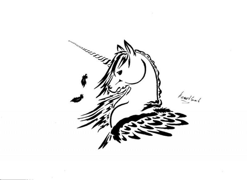 Simple black contour unicorn with falling feathers tattoo for Simple unicorn tattoo