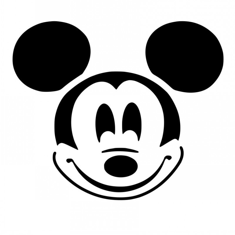 Simple black-ink Mickey Mouse head tattoo design