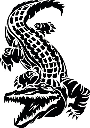Simple black-ink open-mouth reptile tattoo design