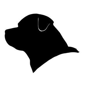 Simple black-ink rottweiler head in profile tattoo design