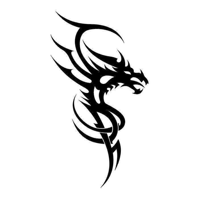 722d80f90 Simple black-ink tribal dragon tattoo design - Tattooimages.biz
