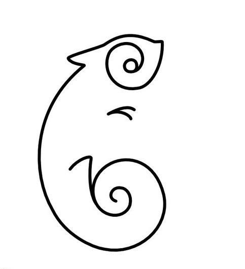 Simple black-line chameleon silhouette tattoo design